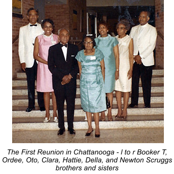The First Reunion in Chattanooga - l to r Booker T, Ordee, Oto, Clara, Hattie, Della, and Newton Scruggs brothers and sisters